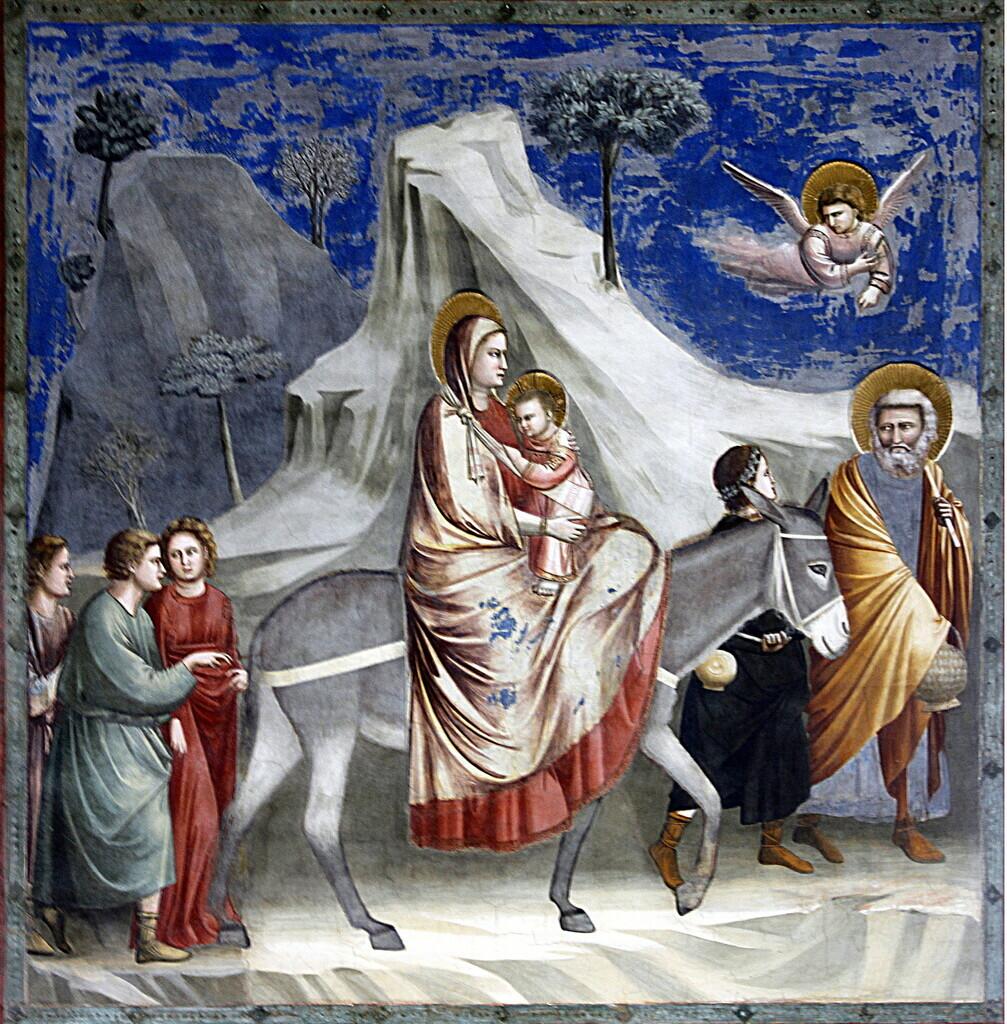 Vier Kinder begleiten die heilige Familie (Giotto di Bondone) Maria, reitend, mit dem kleinen Jesus auf dem Arm. Josef geht vorn, Kinder laufen vor und hinter dem Esel.   Foto von © José Luiz Bernardes Ribeiro, CC BY-SA 4.0, https://commons.wikimedia.org/w/index.php?curid=52228577